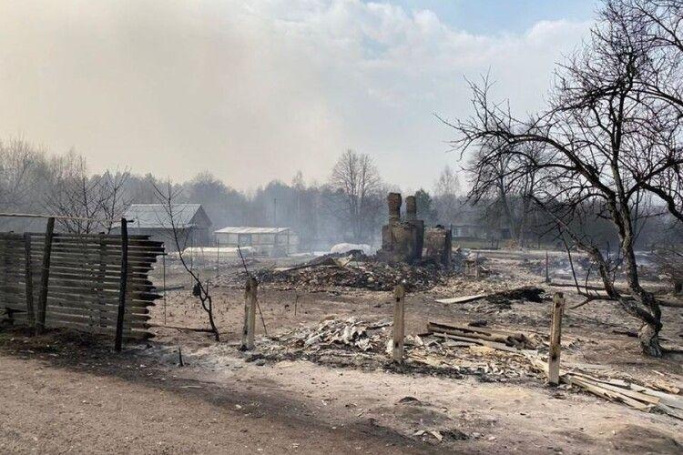 Лісові пожежі в Житомирській області перекинулися на села, людей евакуйовують