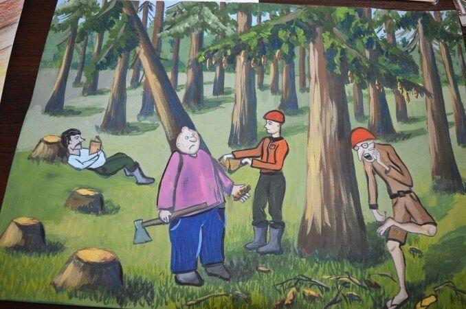 Найбільш поширеною тематикою малюнків виявилася робота за професією вальників лісу та їх помічників.