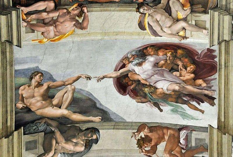 Фрагмент розпису – створення першого чоловіка Адама.