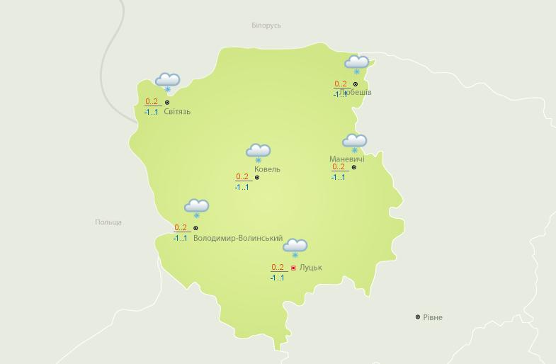Прогноз погоди на 8 березня. Фото із сайту meteo.gov.ua.