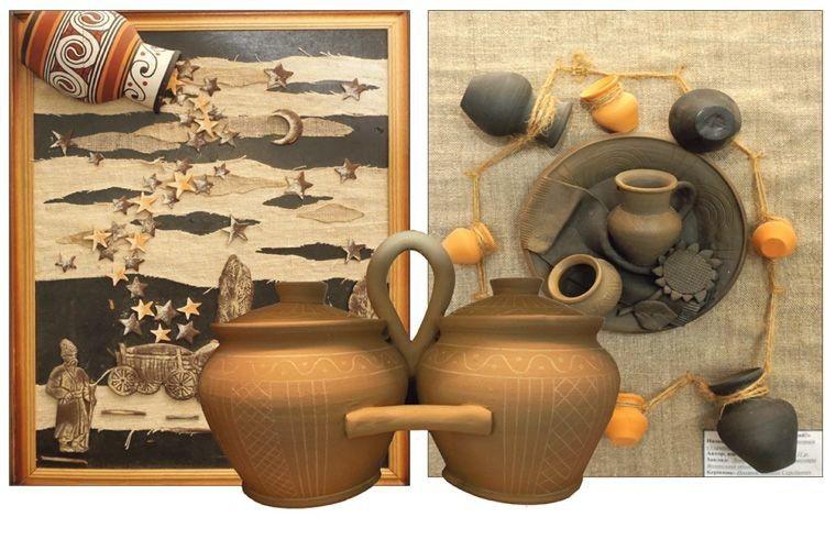 Горщики-близнята та картини з глини.