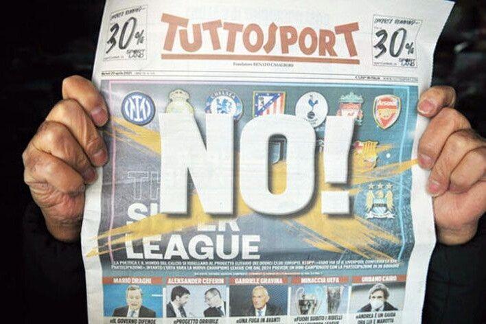 Передовиця легендарного італійського спортивного видання яскраво продемонструвала, що справжній футбольний  світ думає про їхню «Суперлігу».