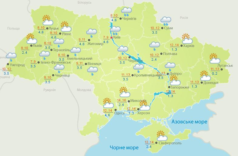 Прогноз погоди на 19 березня.