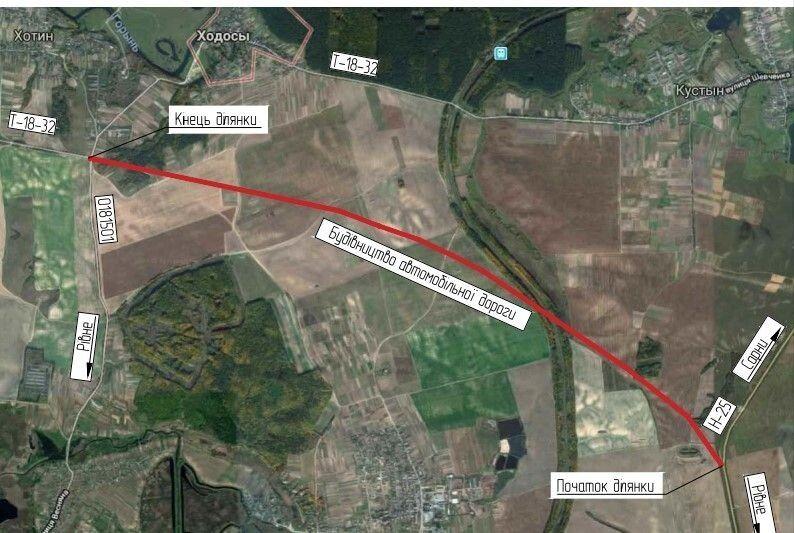 Схема будівництва автомобільної дороги, яку до 2022 року планують збудувати в обхід Рівного для транспорту, який їде зі сторони Києва до Луцька.