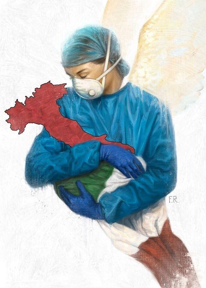 «Боже, врятуй з лікарями Італію!» Фото bbc.com.