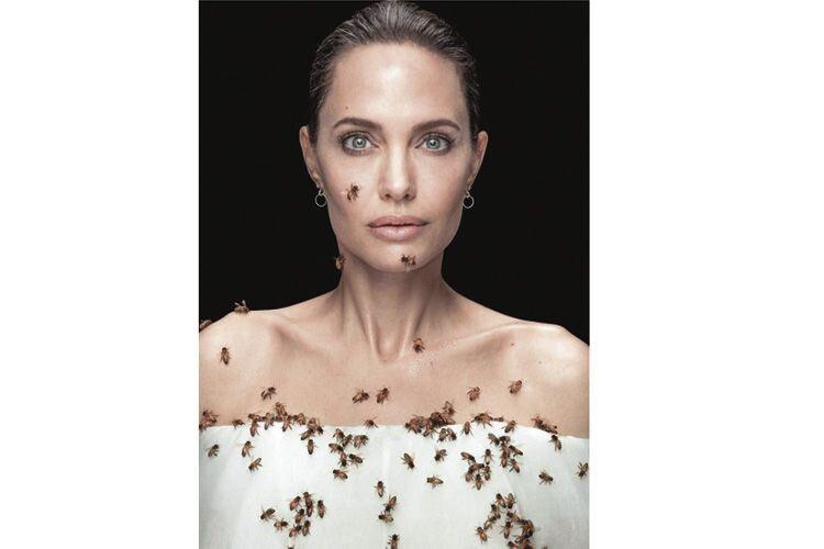 Укрита комахами Анджеліна Джолі стояла нерухомо впродовж  18 хвилин.