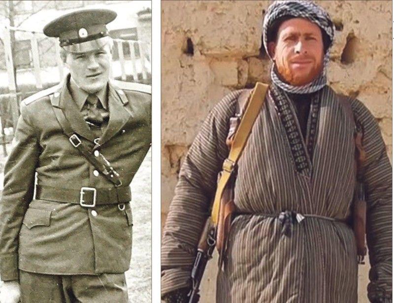 Ігор Білокуров у формі солдата Радянської армії і в одязі моджахеда.