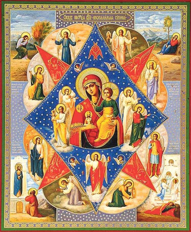 Найчастіше Діву Марію зображають на фоні восьмикутної зірки, складеної з двох ромбів.