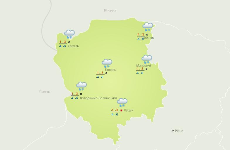Такою буде погода сьогодні на Волині. Карта – Український гідрометеоцентр.