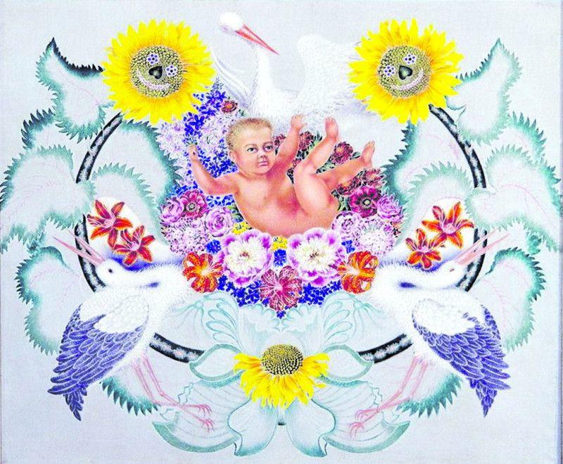 «Щастя» (Лелеки принесли дитинку). Цю картину 50–літня художниця плекала довго іне хотіла нікому показувати.