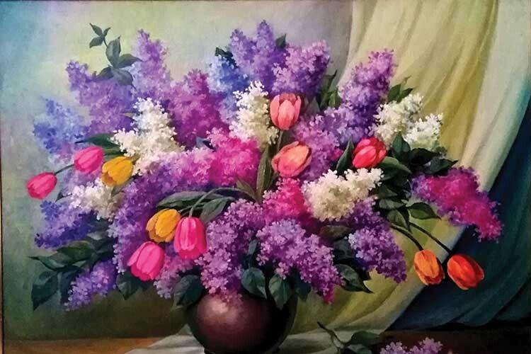 Одна з робіт Євгена Івановича, на якій – весняні квіти рідного краю.