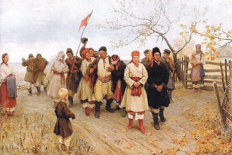 Червоний колір ставав свідченням «чистоти» нареченої перед молодим і його родом. Це і зобразив Микола Пимоненко на своїй картині «Весілля в Київській губернії» у 1891 році.