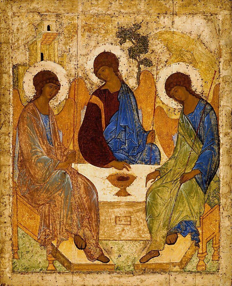 Андрій РУБЛЬОВ. «Свята Трійця» (ікона розміром 142х114 см, написана 1411 або 1425-1427 роках).