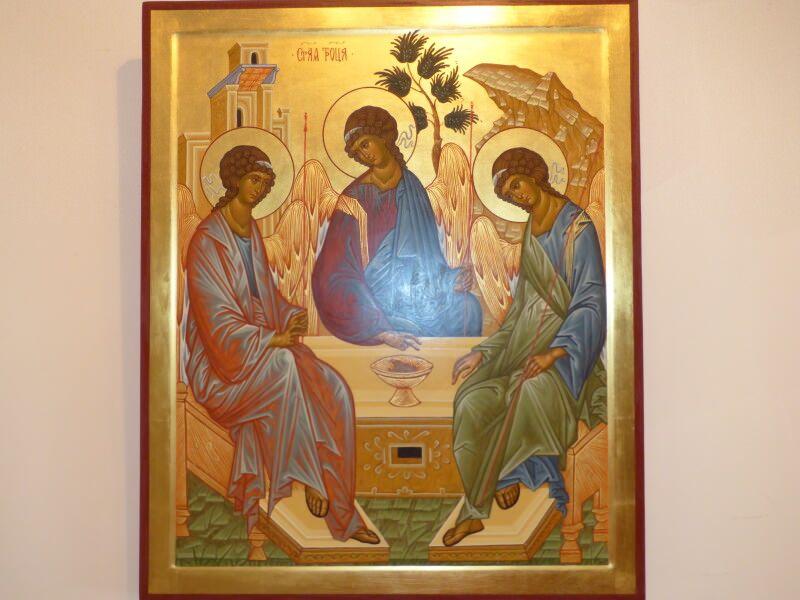 """""""Старозавітна Трійця"""" - неперевершений шедевр Андрія Рубльова надихає  Сергія Омельченка слідувати за візантійським стилем."""