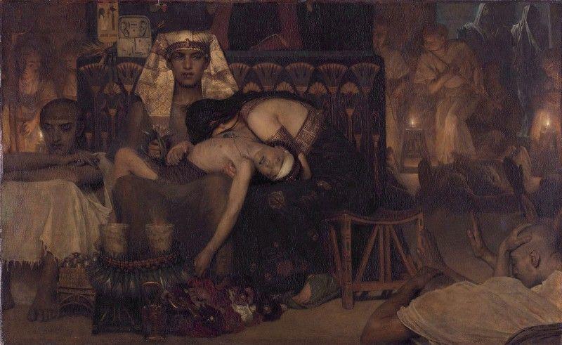 Картина британського художника Лоуренса Альма-Тадема (1836–1912) «Десять страт єгипетських: смерть первістка фараона» (1872).