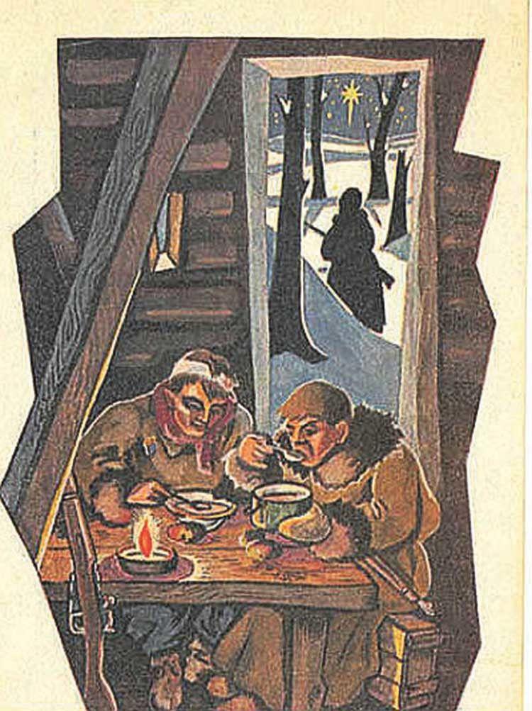 Дуже зворушливий малюнок: скромна святкова вечеря, недогарок свічки, чатовий і малесенька надія у небі. Листівка мала чистий зворот без надруків та подільних ліній. Місце, дата і видавець невідомі.