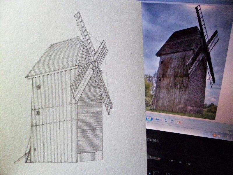 Процес роботи на вітряним млином із Музею історії сільського господарства Волині.