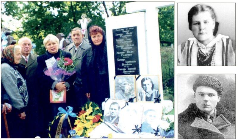 Фото з архіву газети «Волинь»: троюрідні сестри Ярослава Калиновська (в центрі)  та Любов Храновська (праворуч) біля могили родичів, загиблих за волю України.