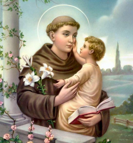 Святого Антонія найчастіше зображають з Дитиною Ісусом  на руках.