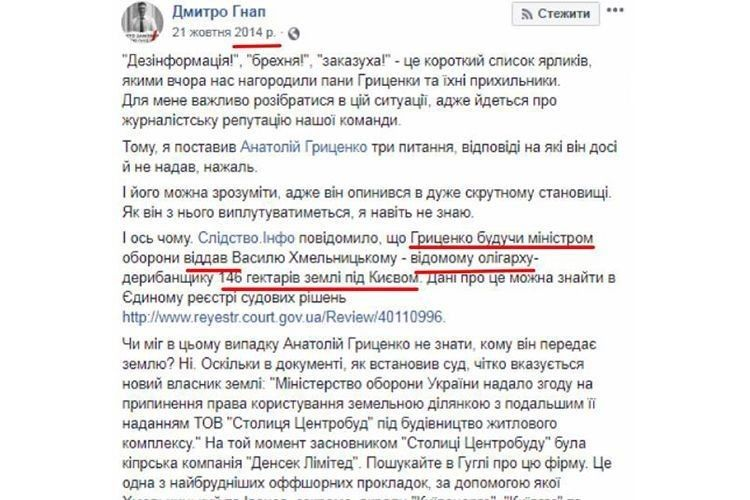 І електронні рукописи не горять: ось що писав Дмитро Гнап на адресу Анатолія Гриценка у 2014 році, а сьогодні заявляє, що знімає свою кандидатуру на його користь у президентській гонці.