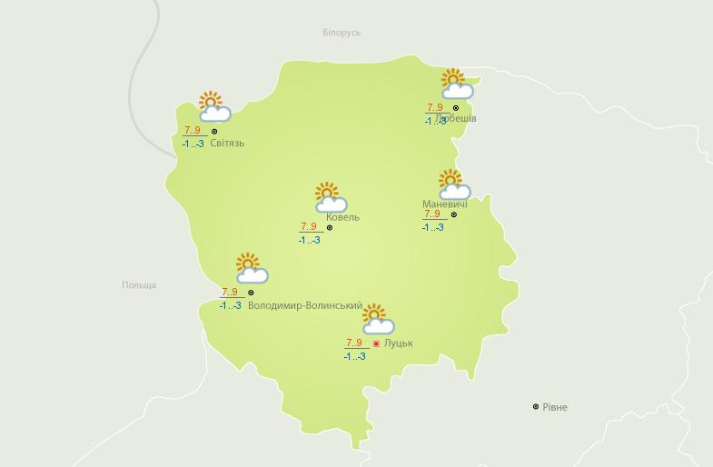 Такою буде погода завтра на Волині. Карта – Український гідрометеоцентр.