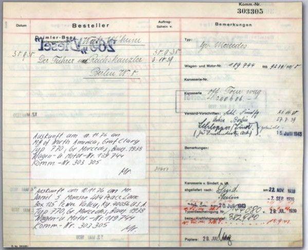 """Документ наMercedes-Benz 770K Grosser, в якому відображено покупця та наступних власників. У графі """"Замовник"""" зазначено: """"Фюрер і райхсканцлер""""."""