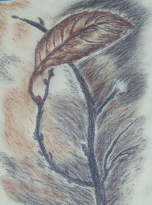 Листочок на «Гілці життя» тріпоче од вітру, та не опадає, бо наділила його художниця дужою силою,  що не дає зірватися.