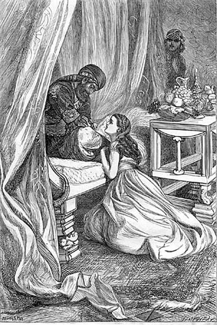 Картина художника  Артура Гоутона (1836–1875) «Султан прощає Шагразаду».
