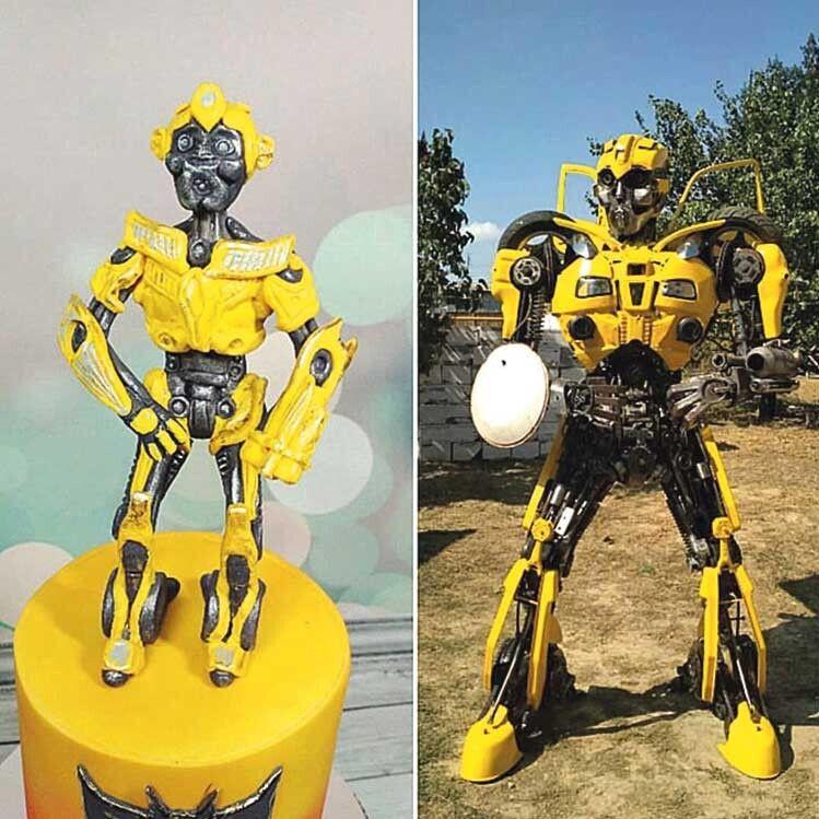 24-сантиметровий трансформер-торт, який спекла дружина майстра, вдесятеро менший за залізного «брата» чоловіка.