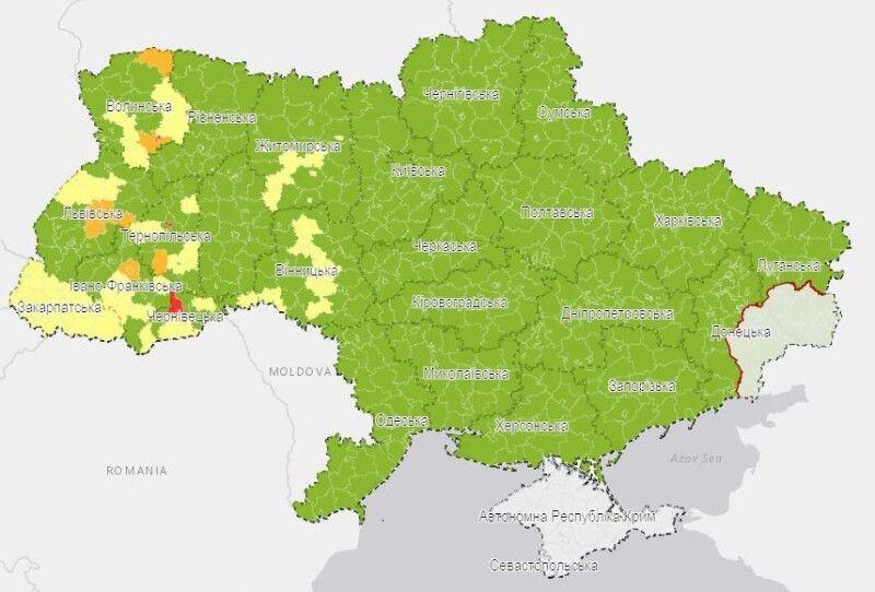 Візуалізація епідемічних показників на рівні районів та міст обласного значення. Мапа ЦГЗ.
