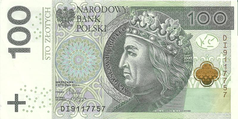На 100 злотих зображений Владислав ІІ Ягайло – Великий князь литовський, який після шлюбу з королевою Ядвігою посів польський трон.
