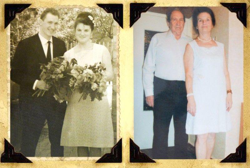 Фото, зроблені у день одруження і через 50 літ.